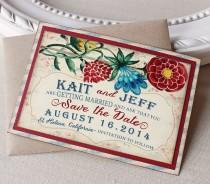 wedding photo - Vintage Garden Wedding Save the Date Magnet  Watercolor Floral Cheerful Red Blue Rustic