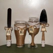 wedding photo - Country Wedding Wine Glass and Beer Glass / Cake Serving Set / Rustic Wedding Toasting Wine Glass and Beer Pilsner / Cake Set / Cake Table