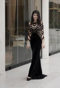 wedding photo - Black velvet evening dress, Long formal dress from plush, Black cocktail dress with handmade stripes, Goth long evening gown in black velvet