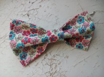wedding photo - Ivory floral bow tie self tie wedding bowtie pink blue blossoms pattern groom's bowties groomsmen wedding party father of the bride tie hjif