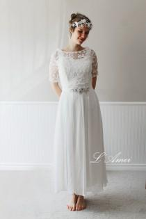 wedding photo - Exquisite1970's Paris Inspired Ivory White Vintage-Style Wedding Dress with Short-Sleeved Embroidered Lace Bolero