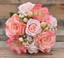 wedding photo - Peach Rose Wedding Bouquet, Silk Flower Bouquet made with Coral Roses, Peach Roses, Coral Dahlia's and Ivory Baby Breath.
