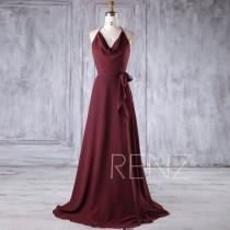 wedding photo - 2017 Wine Chiffon Bridesmaid Dress, Spaghetti Straps Halter Wedding Dress, A Line Prom Dress with Belt, Formal Dress Floor Length (H385)