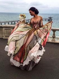 wedding photo - Hand painted dress, Ball gown, Prom dress, Long formal dress, Colorful dress, Floral maxi dress, Sleeveless dress, Formal dress Evening gown