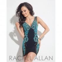 wedding photo - Black/Aqua Rachel Allan Cocktail 3012  Rachel ALLAN Cocktail - Elegant Evening Dresses