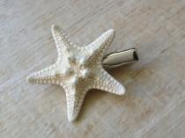 "wedding photo - Starfish Hair Clip Ocean Sea Beach Wedding Mermaid Costume Halloween Hawaii Luau Music Festival Surfer Girl 2-1/8"" - 2-1/4"" White Knobby"