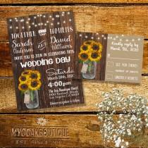 wedding photo - Country Wedding invitation Rustic chic mason jar wood sunflowers flowers digital printable Suite Invitation RSVP you print 14040