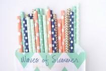 wedding photo - WAVES of SUMMER -Coral paper straws, Navy Straws, Gold Straws, Mint Straws  Polkadot, Damask, Beach theme party Straws -Wedding, Birthday