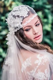wedding photo - Juliet Cap Veil, Beaded Veil, Vintage Wedding Veil, Bridal Veil, Ivory Veil, Juliet Wedding Veil, Flower Veil, Lace Embroidered Veil WHITNEY