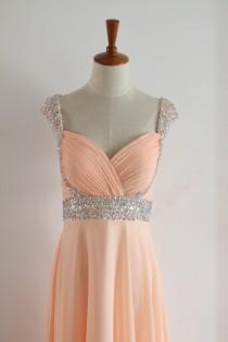 wedding photo - Peach Floor-length Beading Prom Dress with Straps Bling Long Chiffon Peach Bridesmaid Dress