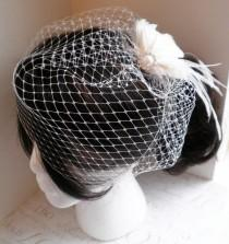 wedding photo - Veil, Birdcage, French, Russian, veiling, netting, white, ivory, black, 12 inch, short, bridal, Wedding, Accessory - BIRDCAGE VEIL