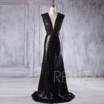 wedding photo - 2016 Black Sequin Bridesmaid Dress, Deep V Neck Wedding Dress, V Back Prom Dress, Sexy Ball Gown, Evening Gown Full Length (HQ365)
