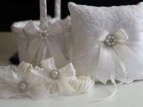 wedding photo - Antique White Wedding Flower Girl Basket   Off White bearer Pillow, Bridal Garter Set, Lace Wedding garters with brooch, lace wedding basket