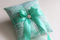 wedding photo - Mint Ring Bearer Pillow, Mint Wedding Pillow, Mint White Bearer Wedding Ring Pillow, Mint Wedding Basket Pillow Set, Mint Flower Girl Basket