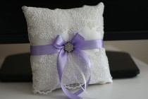 wedding photo - Violet Ring Bearer Pillow  Violet Wedding Pillow   Lilac Flower Girl Basket, Light Purple Bearer Pillow   Purple Basket Pillow Set