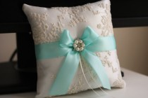 wedding photo - Wedding Ring Bearer & Wedding Basket  Ivory Aqua Bearer Pillow   Flower Girl Basket  Ivory Wedding Basket Pillow Set  Aqua wedding basket