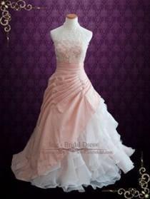 wedding photo - Halter Blush Pink Ball Gown Wedding Dress With Organza Ruffles