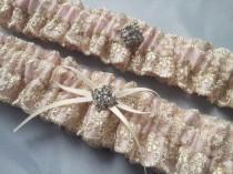 wedding photo - Blush Pink Soft Gold Lace Bridal Garter Set with Rhinestone Accent Bridal Wedding Garter Tea Rose