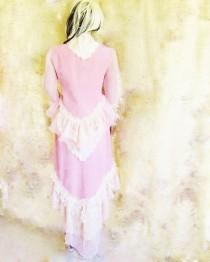 wedding photo - Victorian inspired bohemian pink wedding suit hi low skirt bolero jacket with mutton sleeves and bustle
