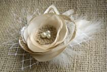 wedding photo - Champagne Rustic Hair Flower Clip - Wedding Burlap Hairpiece  - Beige Bridal Fascinator - Burlap Lace Wedding Hairpiece - Gold Feather Clip