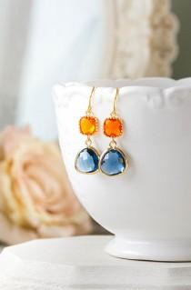 wedding photo - Orange Tangerine Sapphire Blue Earrings Gold Dangle Earrings Montana Blue Navy Blue Glass Drop Earrings Wedding Earrings Bridesmaid Gift