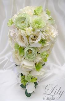 "wedding photo - 17 Pieces Package Silk Flower Wedding Decoration Bridal Cascade Bouquet IVORY LIGHT GREEN ""Lily Of Angeles"""