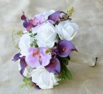 wedding photo - Wedding Purple Mix of  Orchids, Callas and Roses Silk Flower Bride Bouquet - Lilac Lavender