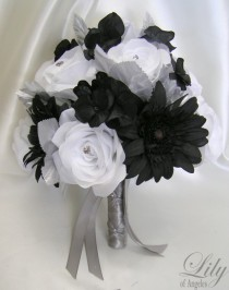 "wedding photo - 17 Pieces Package Silk Flower Wedding Bridal Bouquet Decoration Centerpieces Bride Groom Maid Floral BLACK WHITE ""Lily Of Angeles"" WTBK01"