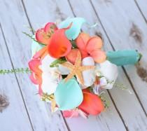 wedding photo - Wedding Coral Orange and Aqua Turquoise Natural Touch Orchids, Callas and Plumerias Starfish Silk Flower Medium Bride Bouquet