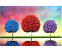 wedding photo - Whimsical Tree Art, Colorful Trees ORIGINAL Painting, Landscape Painting, Large Oil Painting, Modern Textured Canvas Impasto Wall Art, 24x36