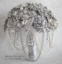 wedding photo - READY TO SHIP Brooch Bouquet, Wedding Bouquet, Bridal Bouquet, Crystal Bouquet, Wedding Jewelry Bouquet, Bridesmaids Bouquet, Broach Bouquet