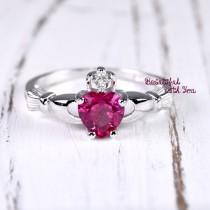 wedding photo - Friendship Ring Claddagh Irish Ring Sterling Silver Claddagh Band Womens Promise Ring Ruby CZ July Birthstone Heart Celtic Engagement Ring