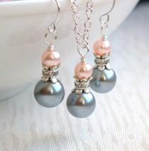 wedding photo - Blush Light Gray Necklace And Earrings Set, Bridesmaid Gift Jewelry, Pink And Gray Pearl Jewelry Set Wedding Party Rhinestone Jewelry