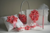 wedding photo - Coral Flower Girl Basket  Coral Ring Bearer Pillow  Coral Bridal Garter  Coral Guest Book with Pen  Coral Wedding Pillow Basket Set