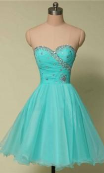 wedding photo - Short Light Blue Flattering Slim Prom Dresses KSP436