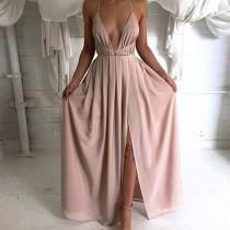 wedding photo -  A-Line V-Neck Criss-Cross Straps Floor-Length Pleats Split Front Prom Dress