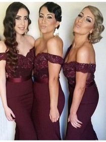 wedding photo - Buy Stylish Burgundy Mermaid Off the Shoulder Sequins with Lace Bridesmaid Dress Burgundy, from for $314.99 only in Main Website.