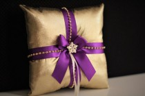 wedding photo - Purple Gold Bearer  Purple Gold Wedding Pillow  Gold Ring Bearer Pillow  Gold Purple Ring Holder  Wedding Ring Pillow  Gold Bearer