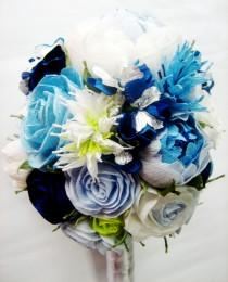 wedding photo - wedding bridal bridesmaids bouquet White Royal Navy Blue turquoise teal paper flowers rose peony aqua flower girl bouquet beach wedding