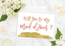 wedding photo - Will You Be My Maid of Honor Card Foil Bridesmaid Wedding card Bridesmaid Gift Matron of Honor bridesmaid proposal Flower Girl idbm7