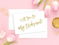 wedding photo - Will You Be My Bridesmaid Gold Maid of Honor Card Wedding card Bridesmaid Gift Matron of Honor Flower Girl Wedding printable card idbm8