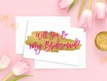 wedding photo - Will You Be My Bridesmaid Maid of Honor Card Wedding card Hot Pink Bridesmaid Gift Matron of Honor Flower Girl Wedding printable card idbm10