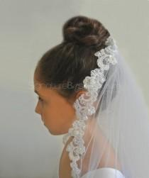 wedding photo - Lace Edged First Holy Communion Veil - Flower Girl Veil