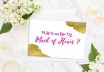 wedding photo - Will You Be My Maid of Honor Hot Pink Bridesmaid Card Bridesmaid Gift Wedding card Matron of Honor Flower Girl Wedding printable card idbm10