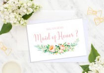 wedding photo - Will You Be My Maid of Honor Bridesmaid Card Wedding card Bridesmaid Gift Matron of Honor Flower Girl Wedding roses printable cards idbm12