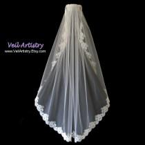 wedding photo - Short Bridal Veil, Fingertip Veil, Modified Mantilla Veil, Mantilla Veil, Alencon Lace Veil, Lace Veil, Made-to-Order Only, Bespoke Veil
