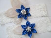 wedding photo - Royal Blue Wedding Garter Set, Champagne Peacock Garter, Ivory Lace Bridal Garter, Something Blue Garters, Vintage- Rustic- Country Bride