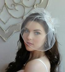 wedding photo - DeBeers Rhinestone Tulle Russian Veiling Feather Birdcage Veil Headpiece Wedding Bridal