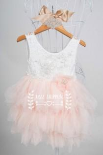 wedding photo - Peach colour girls Tutu style dress white lace sleeveless bodice flower girl dress special occasion dress