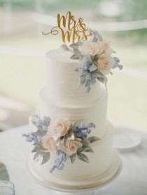 wedding photo - Three Tier White Blue Flower Cake